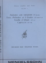 Oeuvres pour piano Volume 5 - Félix MENDELSSOHN - laflutedepan.com