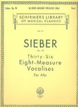 Ferdinand Sieber - 36 Vocalises Of 6 Measures Op 94. Alto - Sheet Music - di-arezzo.com