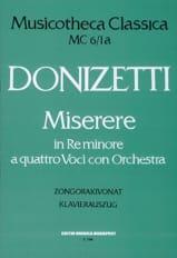 Gaetano Donizetti - Miserere En Ré Mineur - Partition - di-arezzo.fr