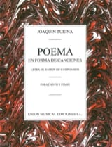 Joachim Turina - Poema En Forma de Canciones - Partition - di-arezzo.fr