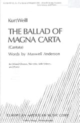 Kurt Weill - The Ballad Of Magna Carta - Partition - di-arezzo.fr