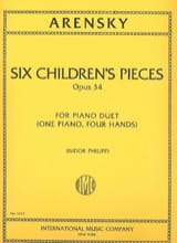 6 Children's Pieces Op. 34. 4 Mains Anton Arensky laflutedepan.com
