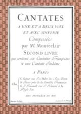 Cantates Livre 2 Michel Pignolet de Montéclair laflutedepan.com