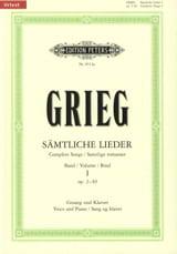 Samtliche Lieder Volume 1 Edward Grieg Partition laflutedepan.com