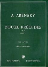 12 Préludes Op. 63 Volume 1 Anton Arensky Partition laflutedepan.com