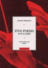 Lennox Berkeley - 5 Poems de W H Auden Op. 53 - Partition - di-arezzo.fr