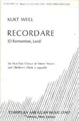 Kurt Weill - Recordare - Partition - di-arezzo.fr