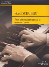 Franz Schubert - 3 Marches Militaires Opus 51. 4 Mains - Partition - di-arezzo.fr