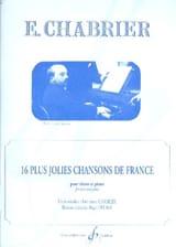 16 Plus Jolies Chansons Emmanuel Chabrier Partition laflutedepan.com