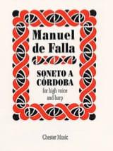 Soneto A Cordoba Manuel de Falla Partition Harpe - laflutedepan.com