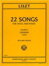 22 Songs Volume 2. Voix Grave LISZT Partition Mélodies - laflutedepan