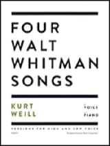 4 Walt Whitman songs Kurt Weill Partition Mélodies - laflutedepan.com