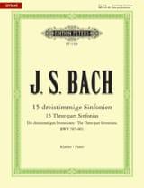 15 Sinfonias Bwv 787-801 BACH Partition Piano - laflutedepan.com