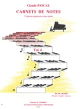 Carnets de Notes Volume 6 Claude Pascal Partition Piano - laflutedepan
