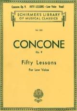Giuseppe Concone - 50 Lessons Op. 9 Voix Grave - Partition - di-arezzo.fr