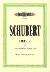Franz Schubert - Lieder Volume 3. Voix Moyenne - Partition - di-arezzo.fr